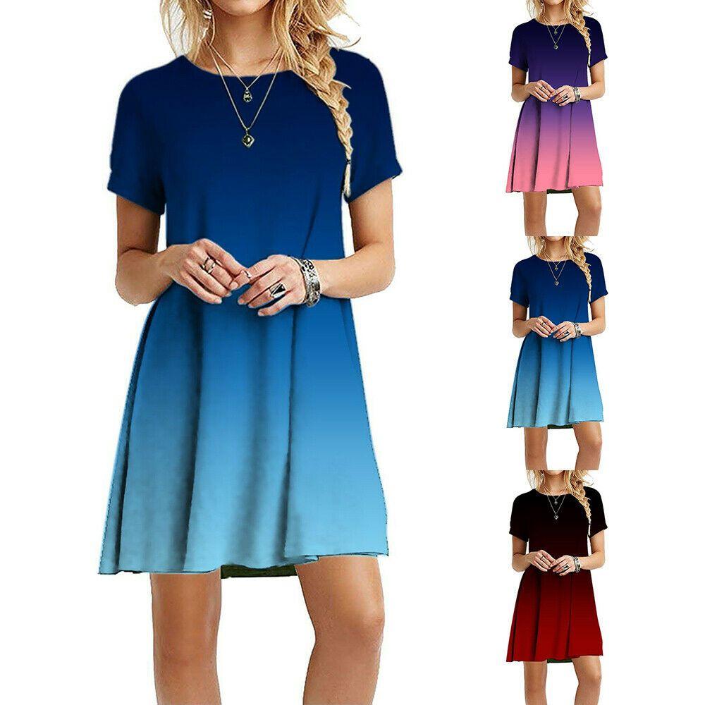 Damen Sommerkleid Freizeit Rundhals A-Linien-Kleid Farbverlauf