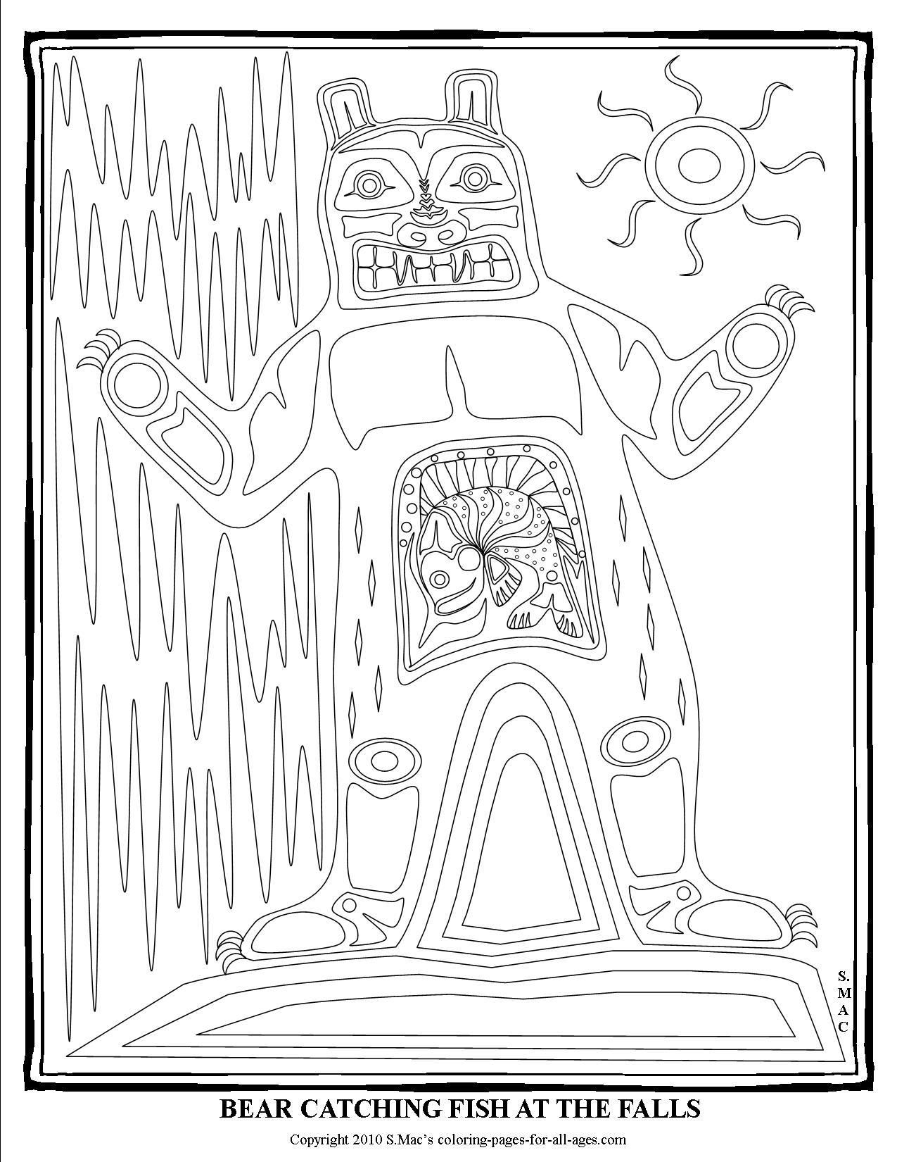 S mac coloring pages - S Mac S Bear At The Falls Coloring Page