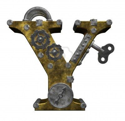 steampunk letter y on white background - 3d illustration Stock Photo