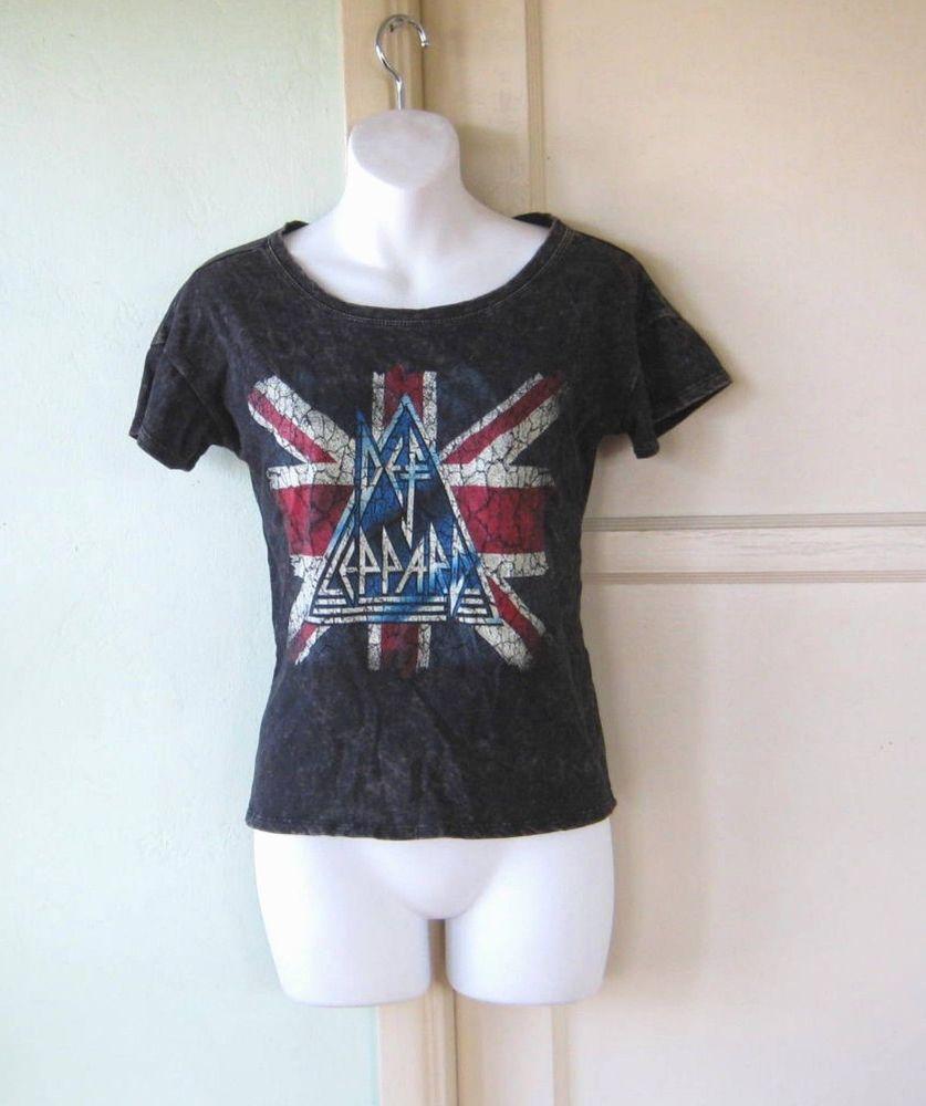 d450298def3  80s Wash Mud Black Def Leppard T-Shirt Union Jack British Flag  Sz Medium  Black  LiveNation  ScoopneckBasicTee.
