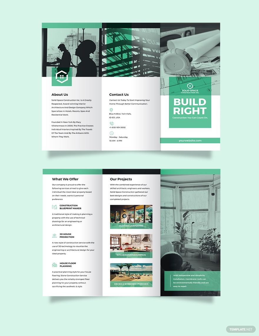 Home Construction Company Tri-Fold Brochure Template