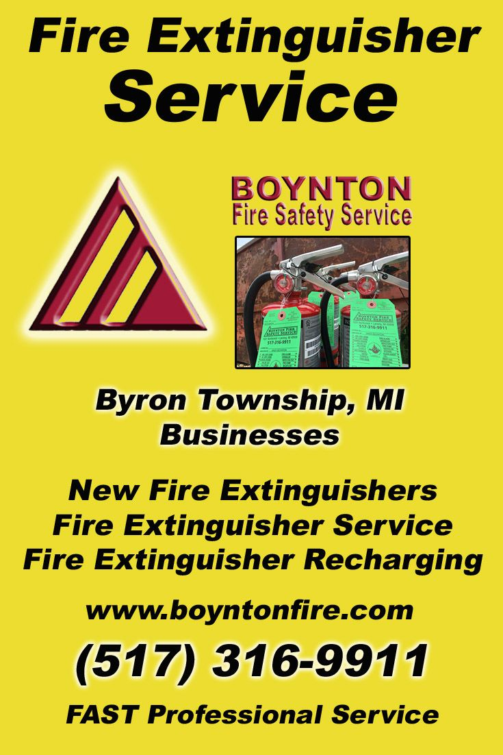 Fire Extinguisher Service Byron Township (517) 316-9911Discover the Complete Source for Fire Protection Equipment and Service.. We're Boynton Fire Safety Service!! Call us Today!