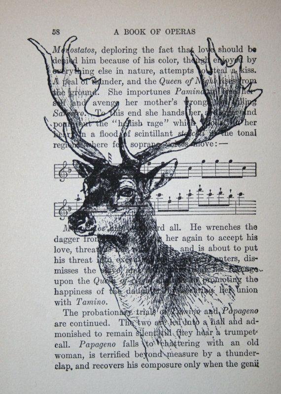 Deer Print on Vintage Book Page - 5 x 7 Deer Head Print