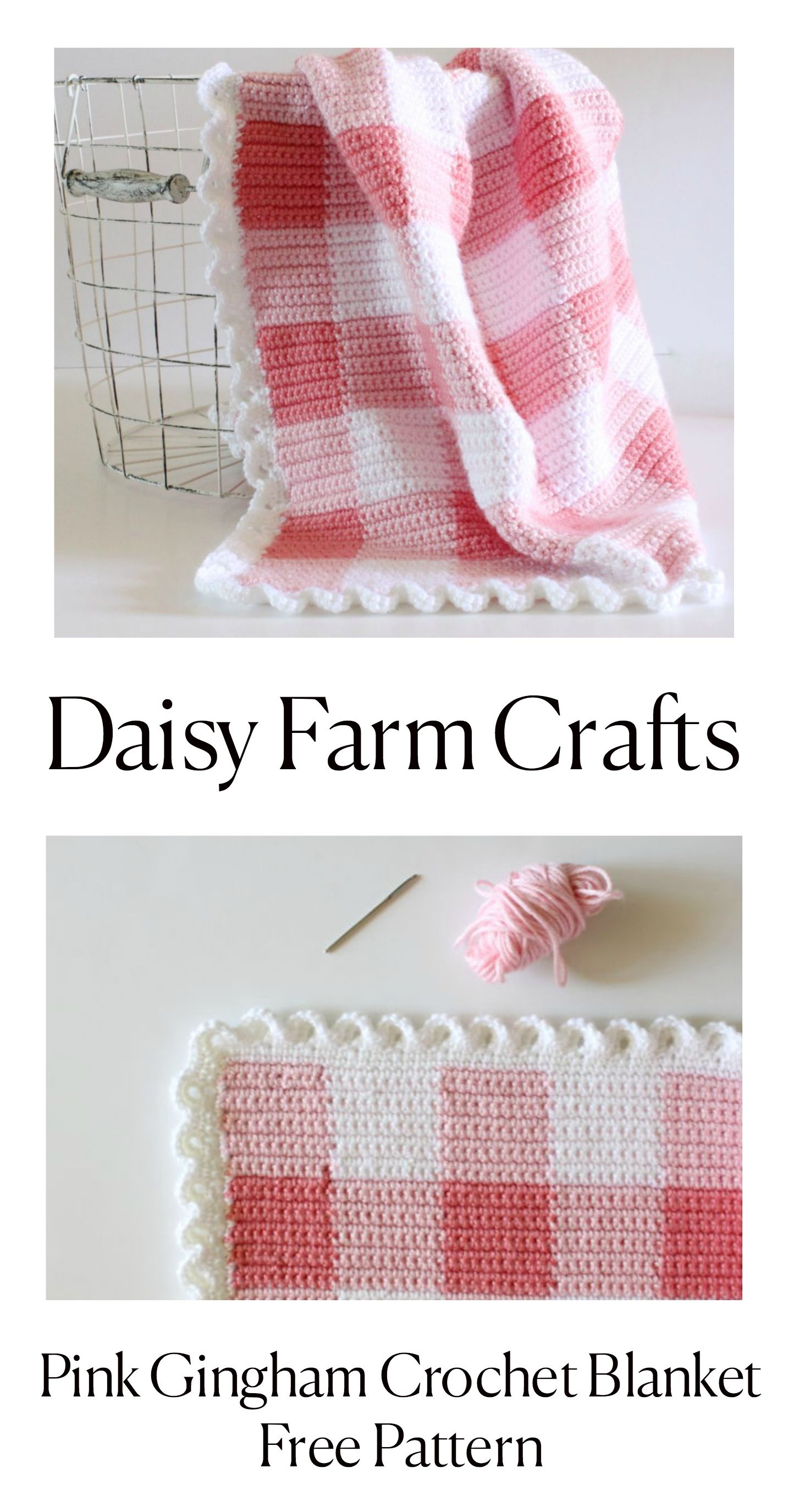 Pink Gingham Crochet Blanket - Free Pattern from Daisy Farm Crafts ...