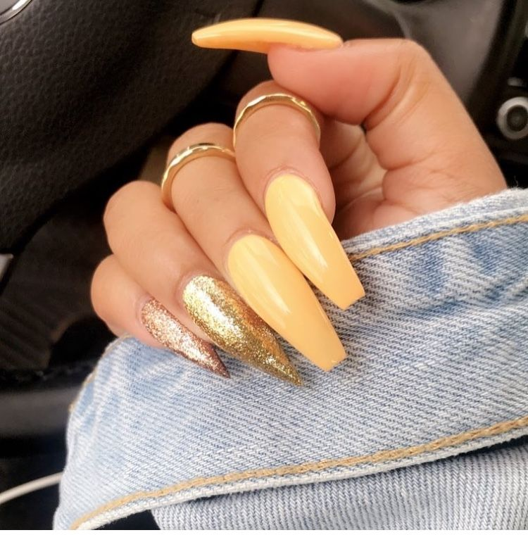 Light Orange Coffin And Stiletto Nails Yellow Nails Beautiful Nails Nail Designs