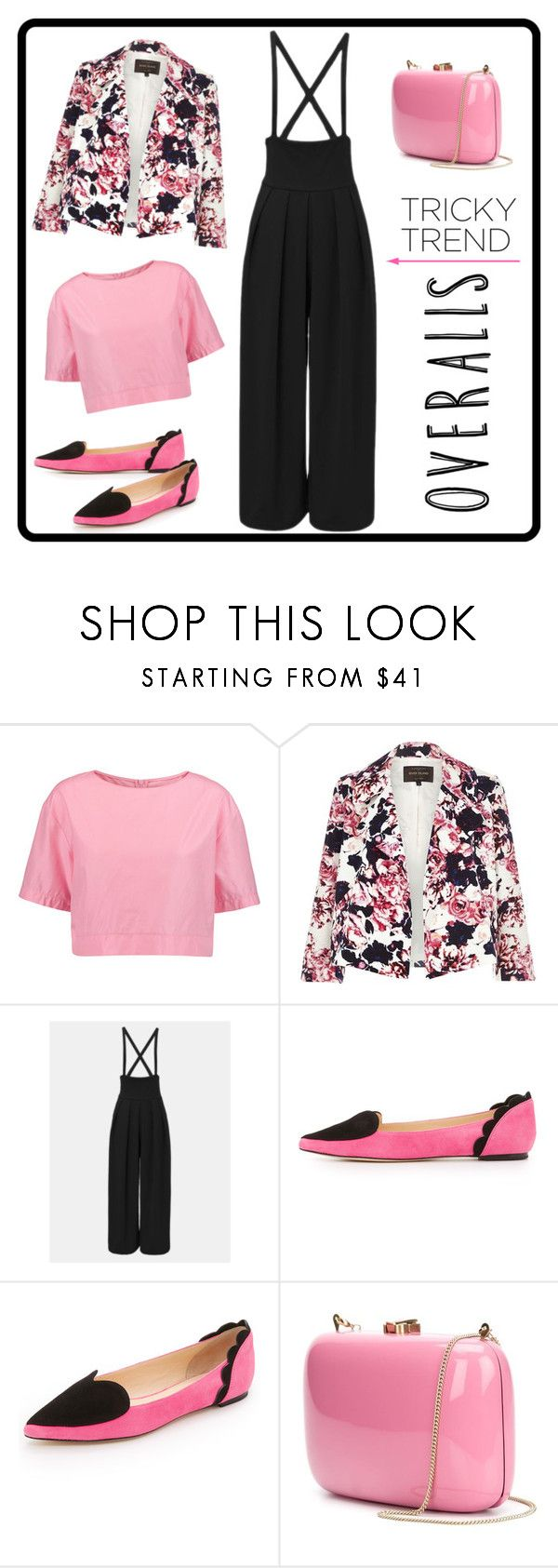 """Untitled #1485"" by aly53-1 ❤ liked on Polyvore featuring Marni, River Island, Isa Tapia, Rocio, TrickyTrend and overalls"