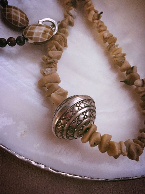 Tigers eye and bamboo coral necklace by Shubella on Etsy