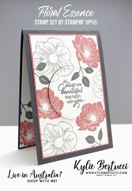 Floral Essence and Rococo Rose have met!  Kylie Bertucci | Stampin Up Australia ... #stampinup!cards