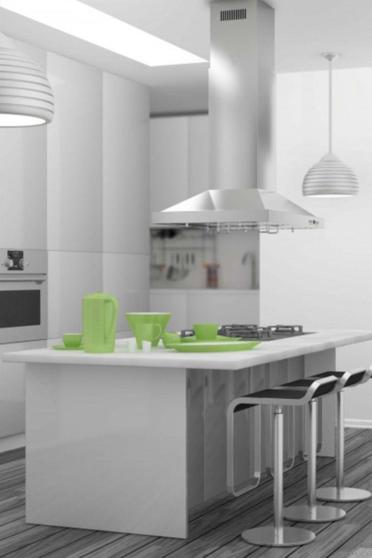 The Zline Gl2i Rs Remote Single Blower Island Stainless Steel Range Hood Has A Modern Design Ducting Kitchen Range Hood Glass Range Hood Kitchen Installation