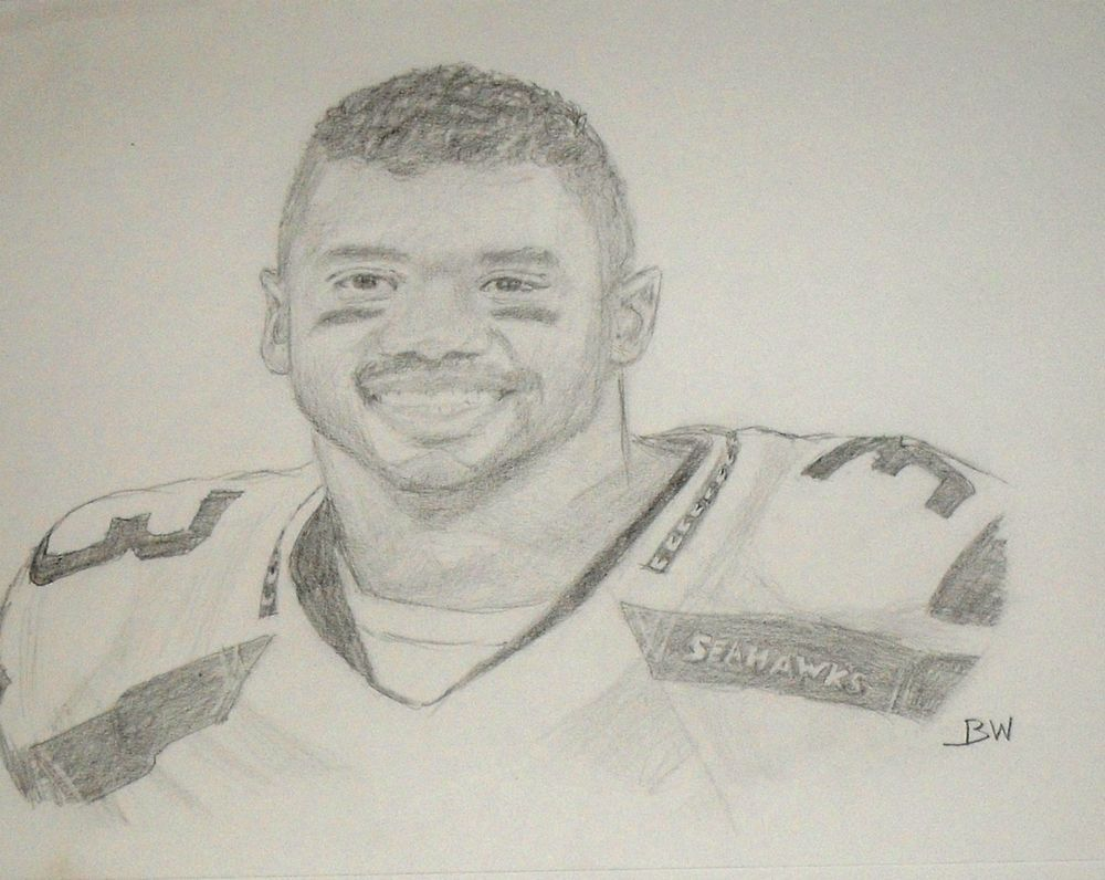 Seattle seahawks russell wilson quarterback graphite pencil drawing realism
