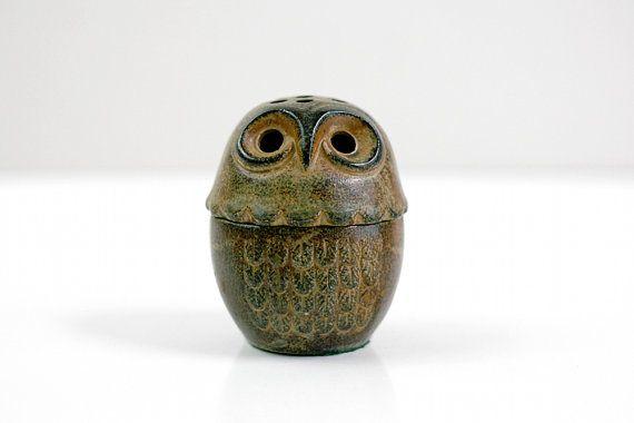 Mitte Jahrhundert Steingut Keramik Eule Laterne von WiseApple, $18.00