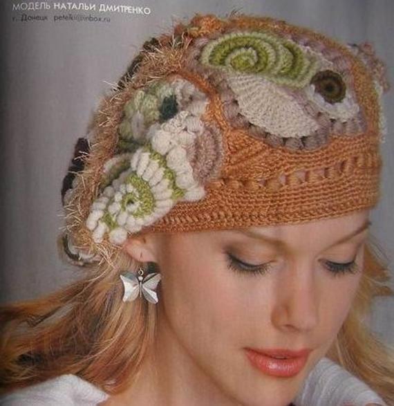 Zhurnal Mod # 550 Crochet patterns for Free form Hats,jackets, Irish lace dress, top, skirt, cardigan #irishlacecrochetpattern