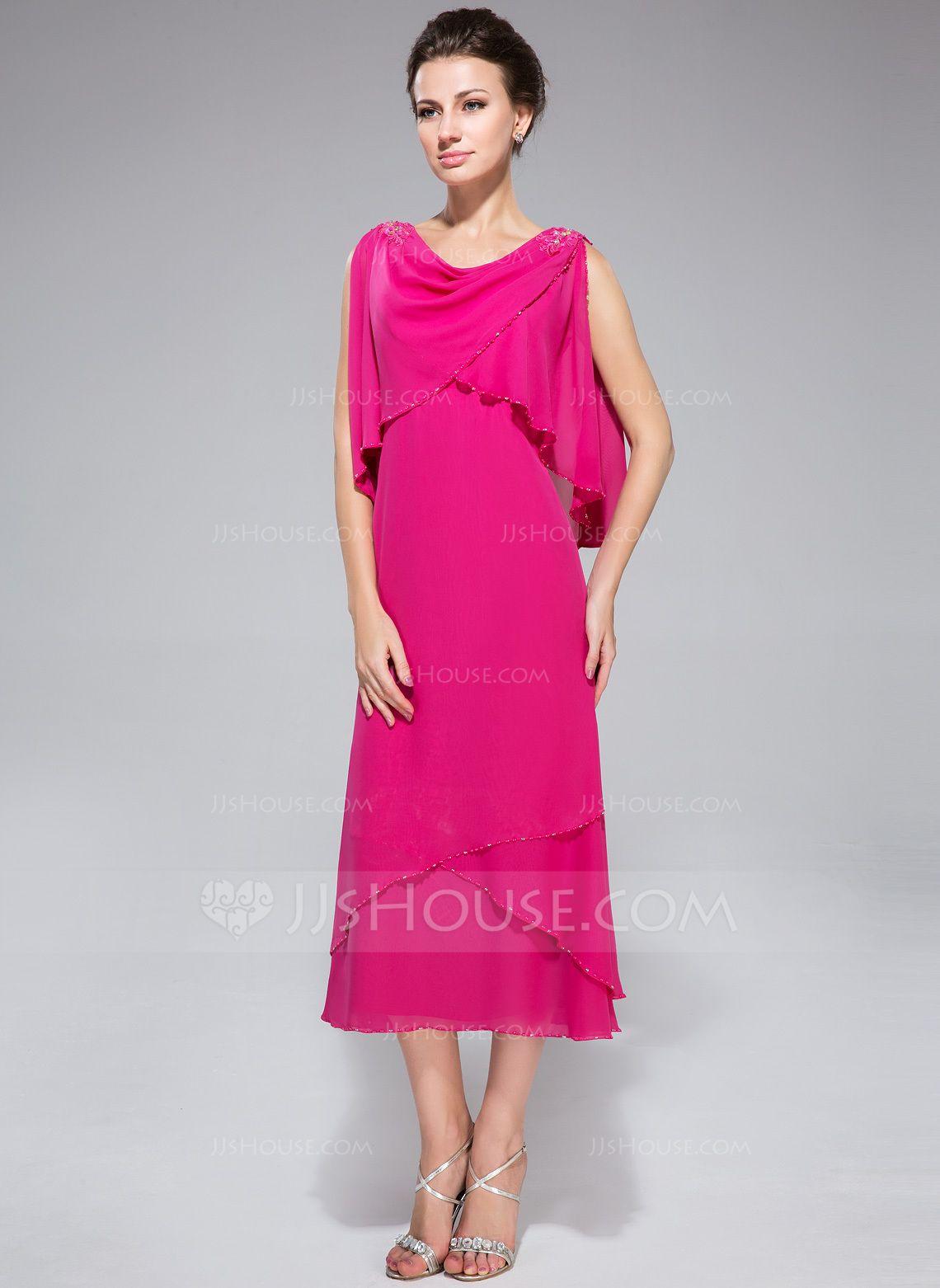Summer wedding mother of the bride dresses  ALinePrincess Cowl Neck TeaLength Beading Sequins Cascading