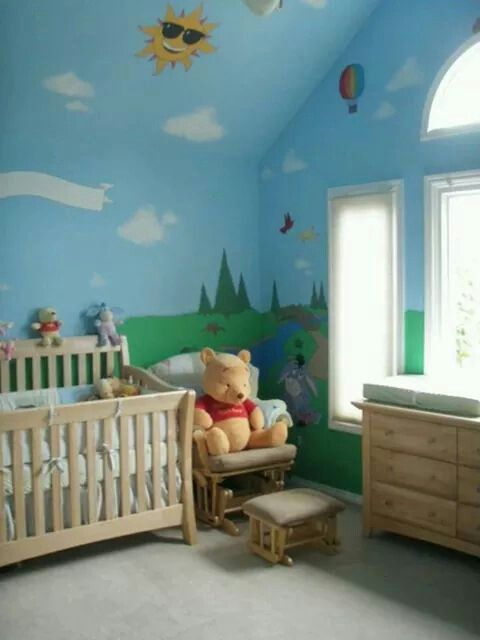 Not A Pooh Bear Room But Clouds In The Sky And Grass With Trees And Flowers Winnie The Pooh Nursery Nursery Baby Room Baby Nursery Decor