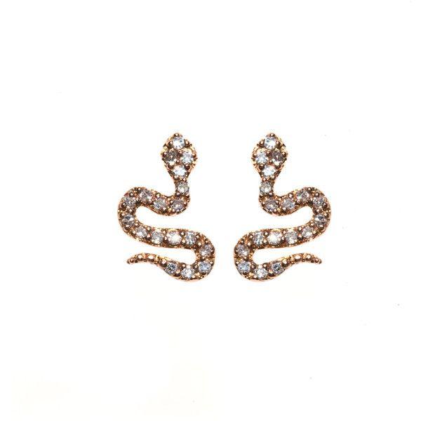 Diamond Stud Snake Earrings 554 Liked On Polyvore