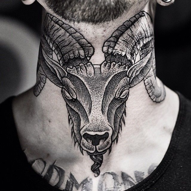 36d2d682cb39a Ram head neck-tattoo via www.dasleitbild.com / www.fb.com/dasleitbild #ram # head #necktattoo #tattoo #leitbild #dotwork