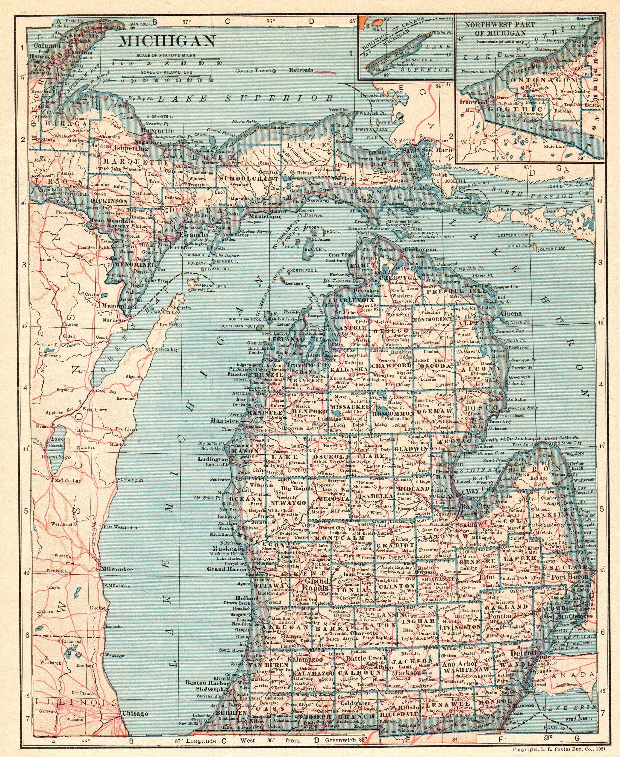1921 Vintage Michigan State Map Antique Map Of Michigan Gallery Wall - Us-map-michigan-state