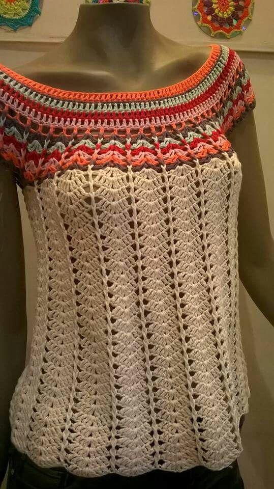 hermosa blusa en crochet   blusa crochet con motivos de piñas ...