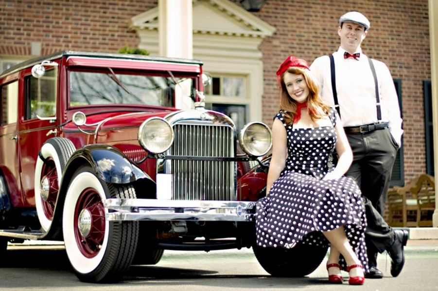 Red Shoes Hat And Classic Car Vintage Style Engagement Shoot