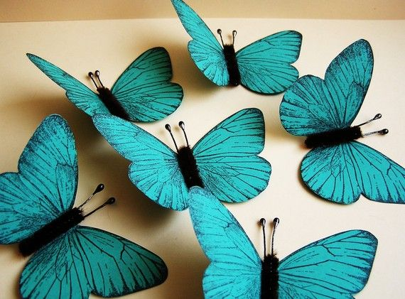 Turquoise/ Chocolate Vintage style classic Butterflies