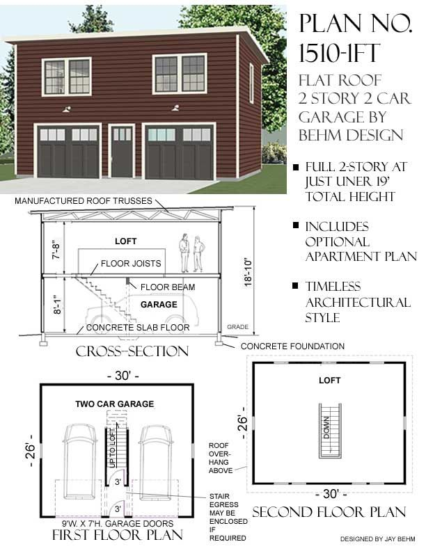 2 story garage with second story apartment or space under for Flat roof garage with deck plans