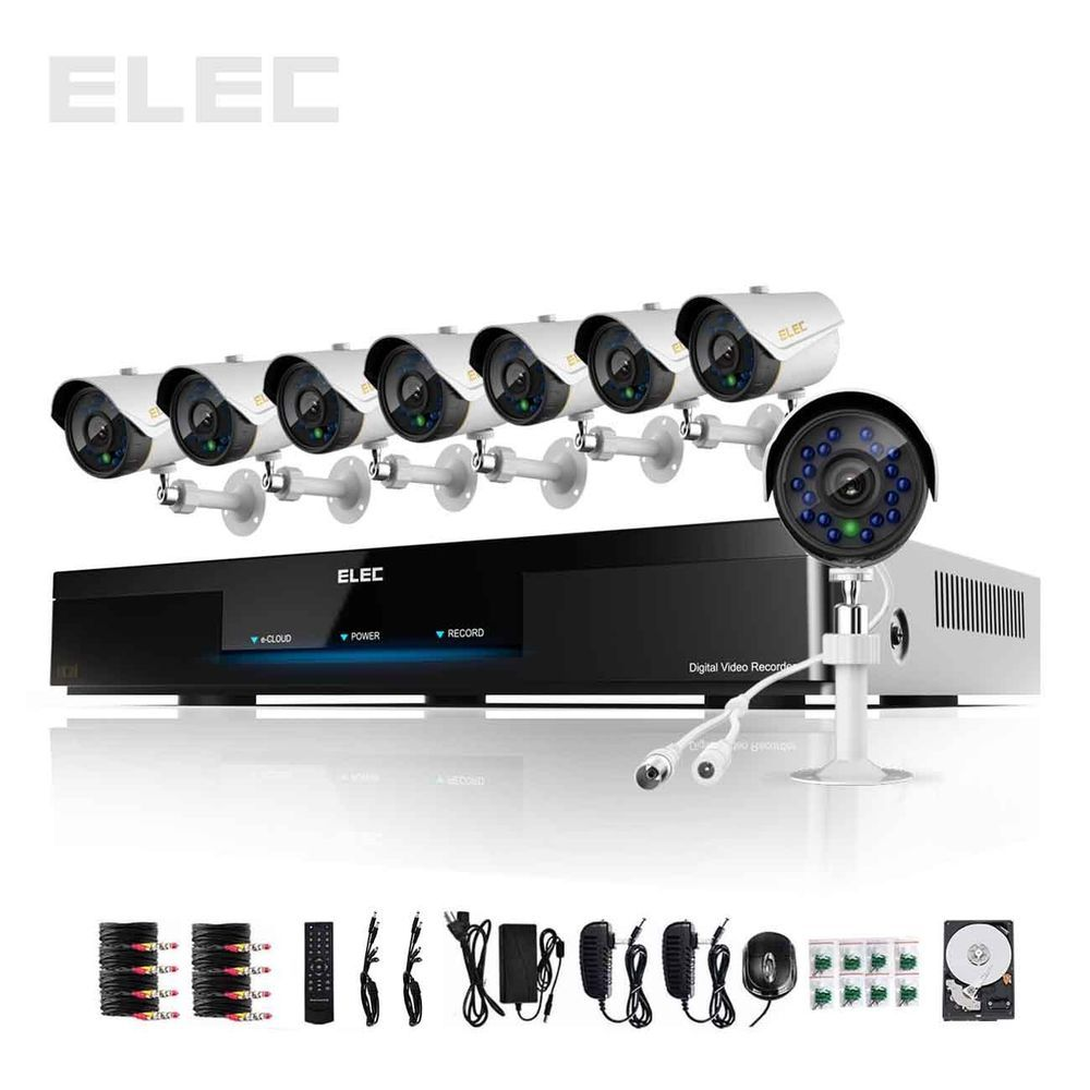 SANNCE 4CH 1080P HDMI DVR 1500TVL Outdoor Day//Night 720P Security Camera System