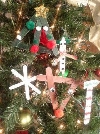 Cute craft-stick Christmas ornaments for kids to make.