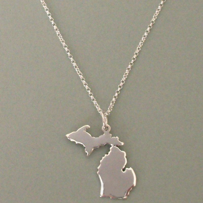 Image detail for state of michigan necklace with upper peninsula image detail for state of michigan necklace with upper peninsula silver loon jewelers aloadofball Images