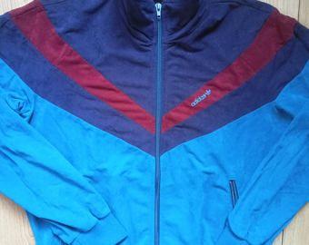 Adidas originales años 80 W. Alemania mujer Chandal chaqueta Top terciopelo  terciopelo VTG 7568f25d071