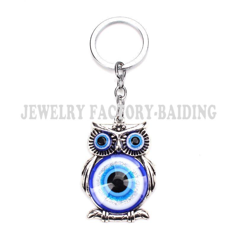 Blue Evil Protezione Degli Occhi Del Gufo Portafortuna Nappa Gancio Cristalli Auto Feng Shui Keychain