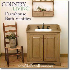 Vintage Country Cottage Bathroom Vanities And Cabinetry Primitive Bathrooms Bathroom Vanity Cottage Bathroom