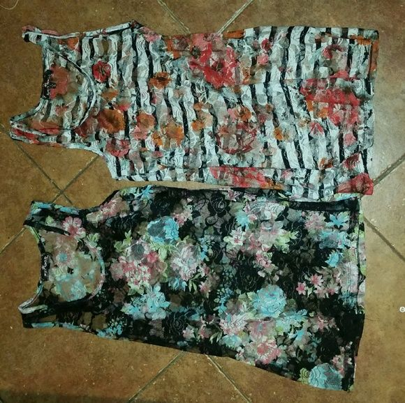 2 for 15 lace floral tanks from Body Central Both size xs-small, lace polyester material. One black with baby blue and pink pastel florals, one with vibrant orange and red florals on white with black stripes. Body Central Tops Tank Tops