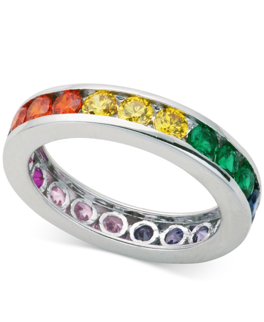 Giani Bernini Multi-Color Cubic Zirconia Channel-Set Eternity Band in Sterling Silver, Only at Macy's