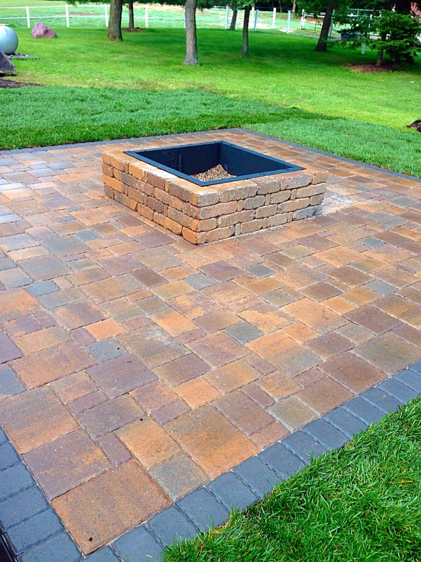 Paver patio with square fire pit out door stuff Pinterest