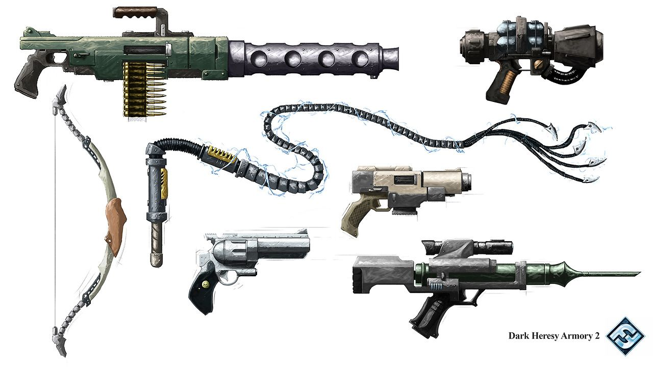 Dark Heresy 2nd edition armory, got to reimagine several iconic weapons and items in the 40k universe!
