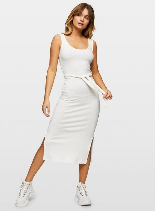 Ivory Ribbed Belted Midi Dressivory Ribbed Scoop Neck Belted Midi Dress.As Worn By @Charleeheron.63% Polyester, 34% Viscose, 3% Elastanemachine Washable