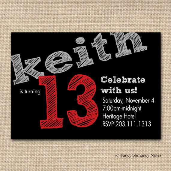 Teen BoyS Birthday Invitation  Red  Chalk Lettering  Printable