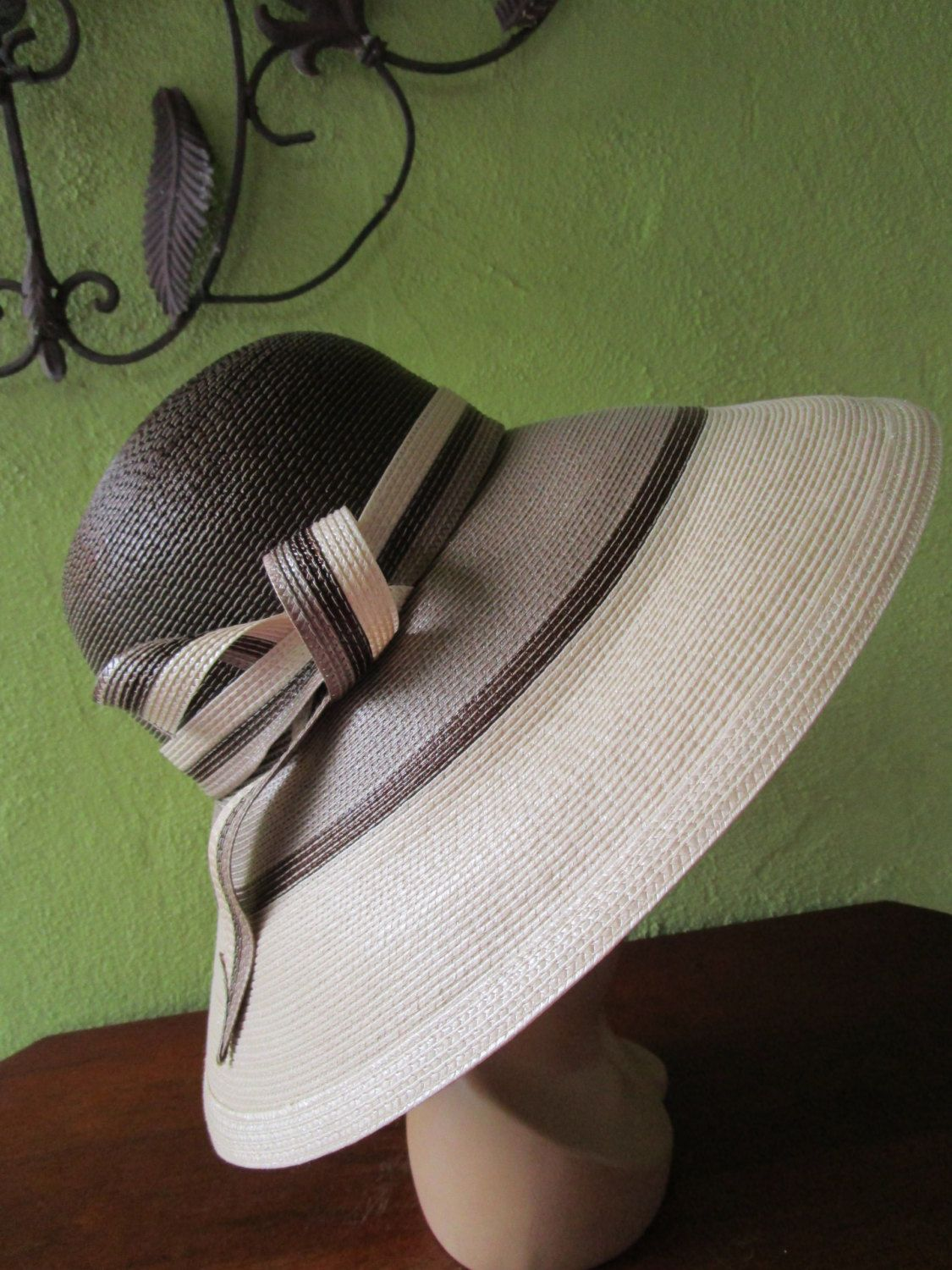 f1cba3d03b3 Marzi Italy Neiman Marcus Straw Hat Ombre Natural Brown Sun Derby Church  Easter by FabulousVintageHats on Etsy