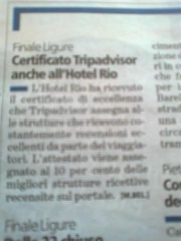 Certificato di Eccellenza TRIPADVISOR. E' una grandissima soddisfazione! Questi riconoscimenti sono un bellissimo premo all'impegno e dedizione con cui lavoriamo giorno dopo giorno! Vogliamo condividerlo con tutti voi amici dell'Hotel Rio