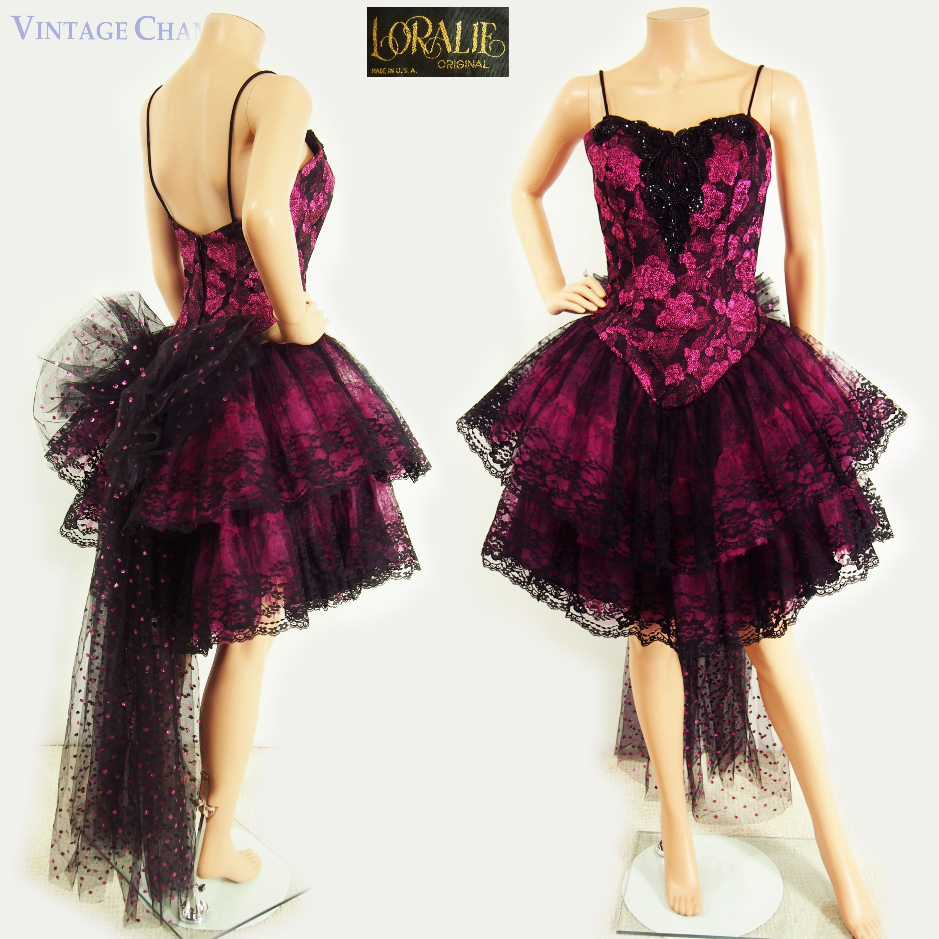Vintage us loralie fuchsia and black lace mini prom dress with