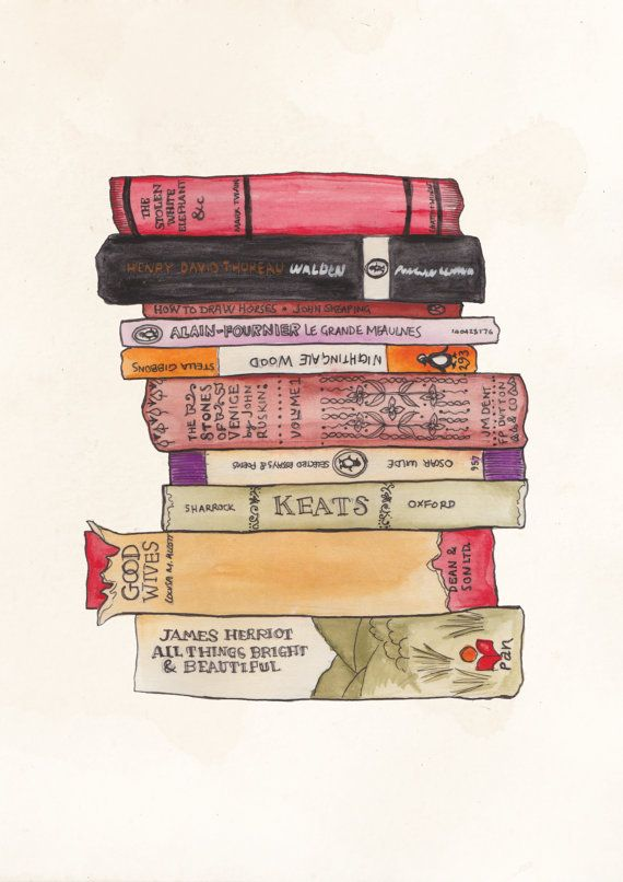 Colourful Books Stack Illustration A4 Print - Love books and this beautiful print is soooo cute!