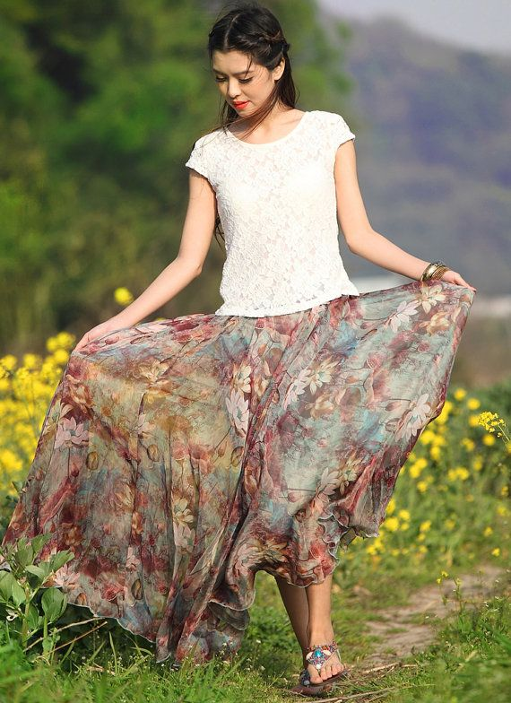 Lotus Flowers Chiffon skirt Maxi Skirt Long Skirt Maxi Dress chiffon dress Women Skirt Summer Pleat skirt Beach Skirt