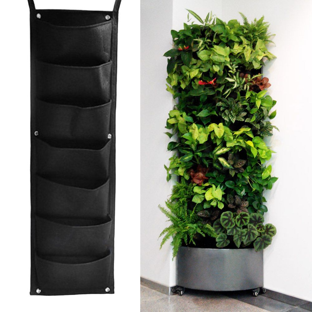 Classical wall mounted grow bags black 7 pocket hanging vertical classical wall mounted grow bags black 7 pocket hanging vertical garden planter indoor outdoor herb workwithnaturefo