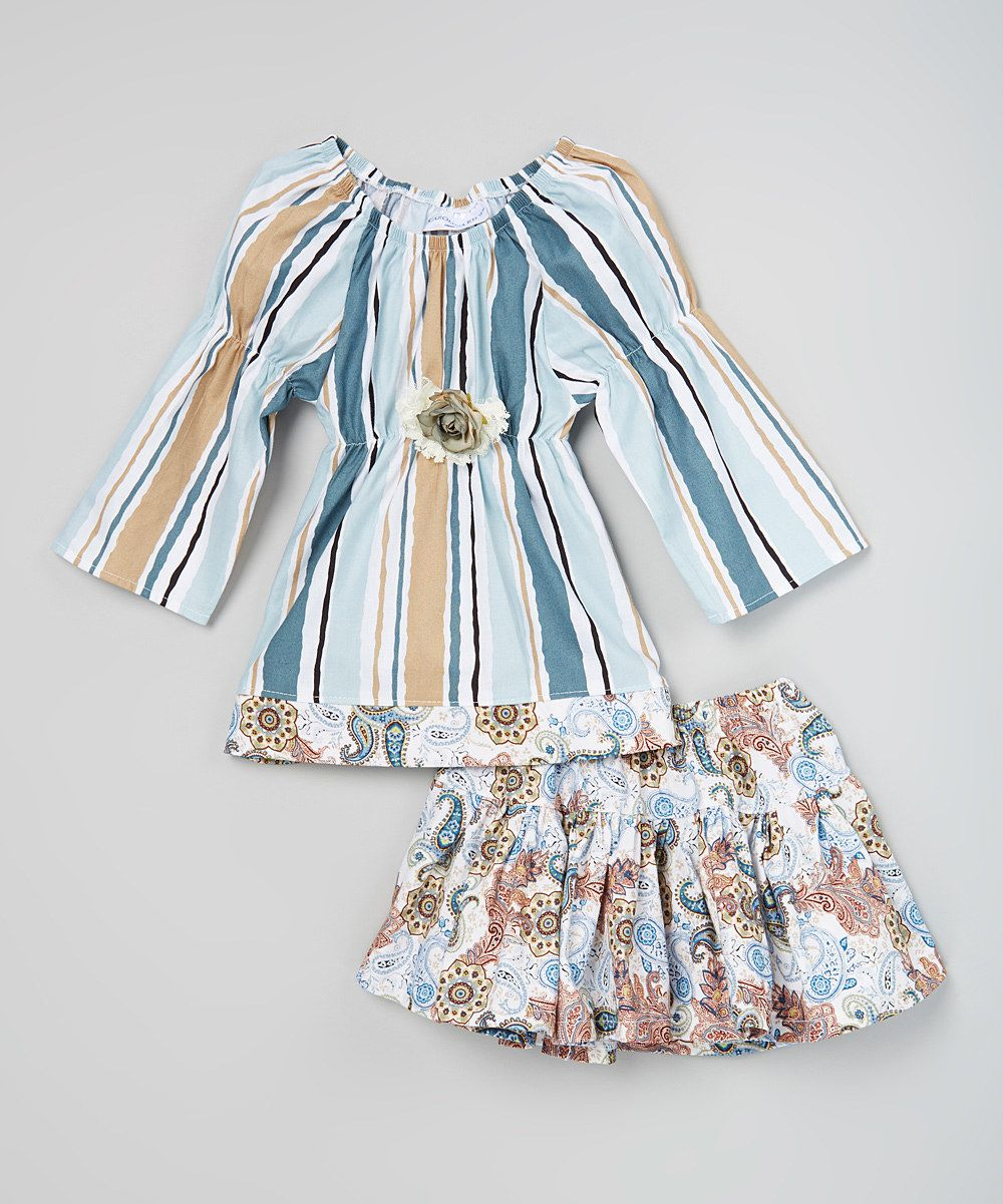 Look at this Blue Stripe Top & Paisley Skirt - Girls on #zulily today!