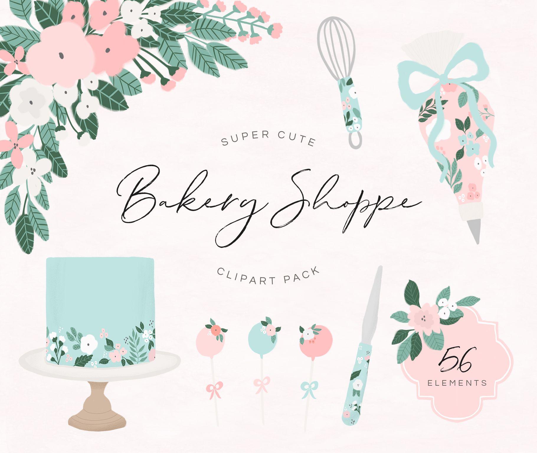Bakery Clipart Pack Clip art, Cake logo design, Blossom