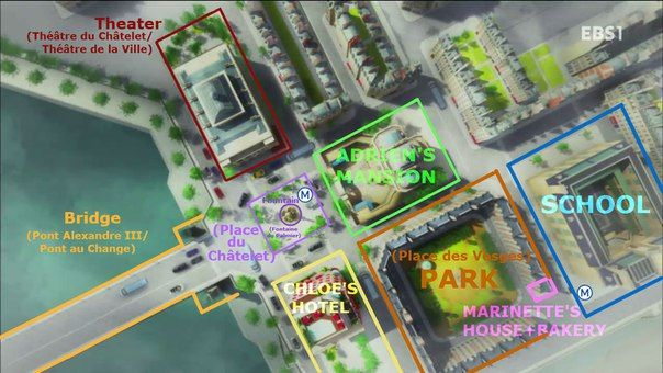Location reference! (I never realized everyone lived so close together, lol)(Miraculous Ladybug)