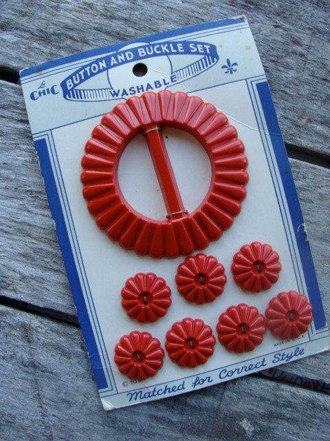 One Vintage Kitsch Bakelite Old Mop Red Belt by reginasstudio, $12.99