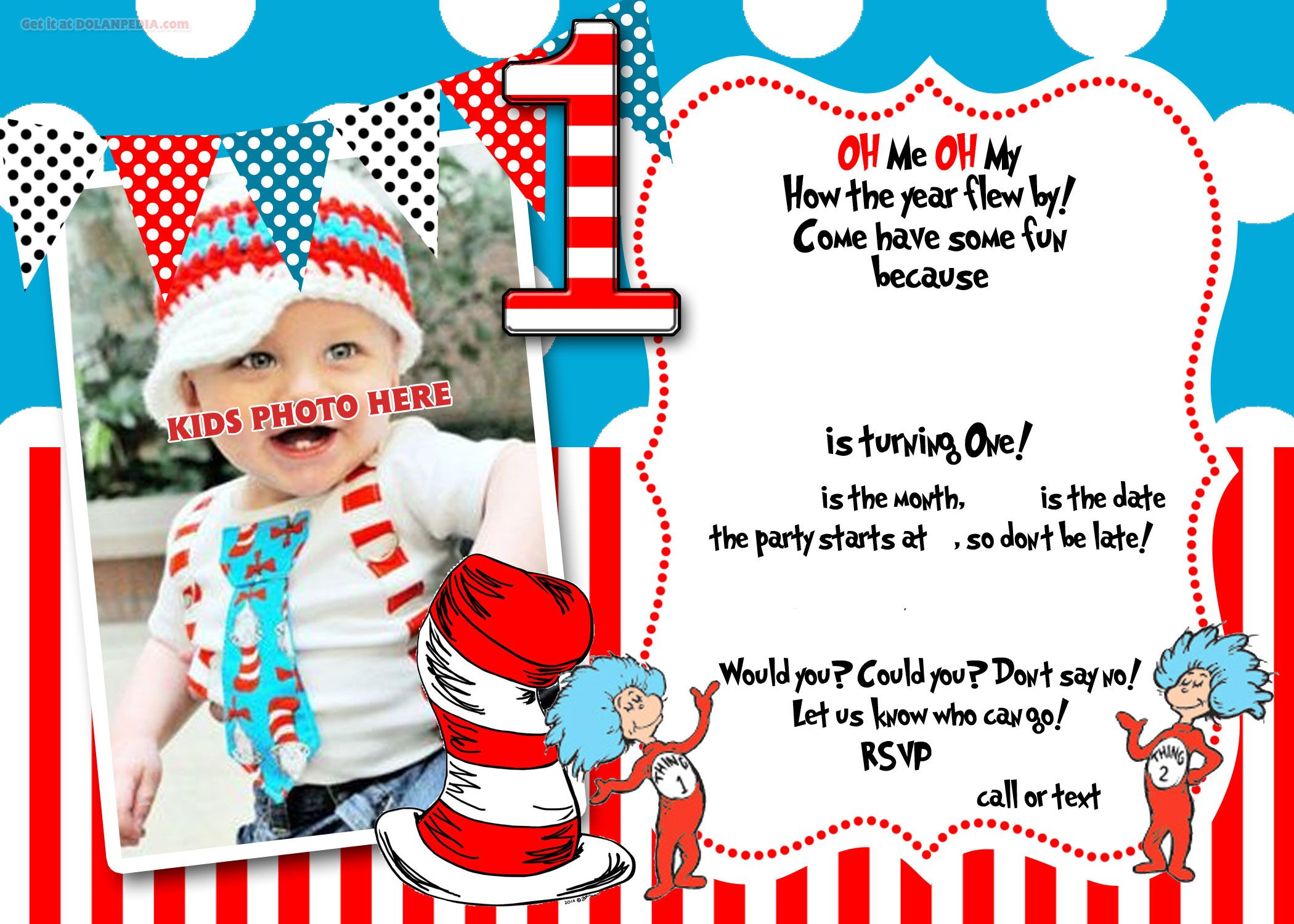 dr.Seuss 1st Birthday Invitation Template | Birthday invitation ...