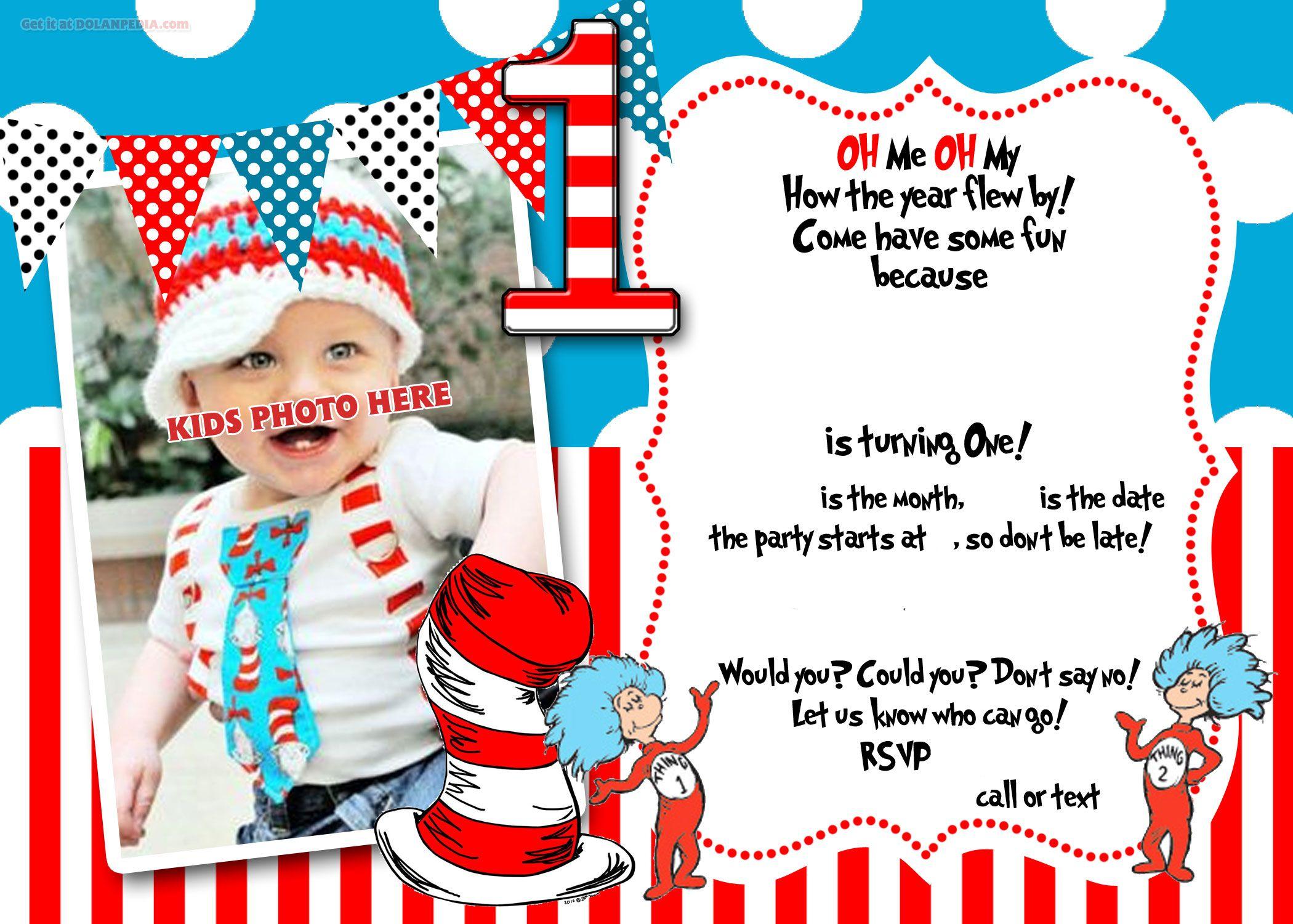 dr seuss 1st birthday invitation