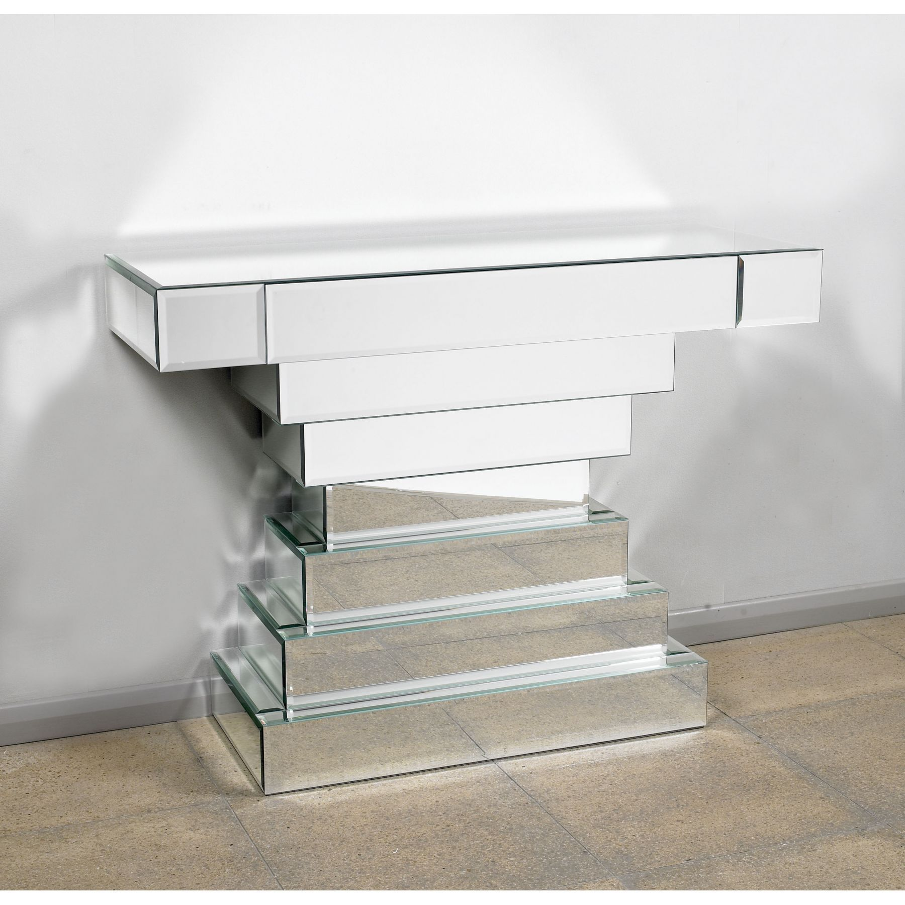 silverglassconsoletablezoom  diy mirrored . this stacked silver glass console table is a welcomed new addition to ourever expanding range of mirrored furniture